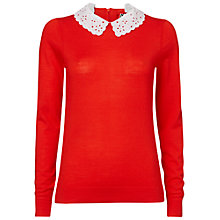 Buy Boutique by Jaeger Broderie Collar Sweater, Poppy Online at johnlewis.com