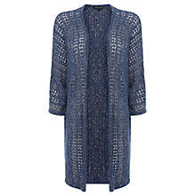 Buy Warehouse Long Drapey Stitch Cardigan, Navy Online at johnlewis.com