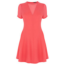 Buy Warehouse Sheer Panel Seam Dress, Coral Online at johnlewis.com