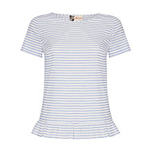 Buy Boutique by Jaeger Stripe Frill Tee, White / Blue Online at johnlewis.com