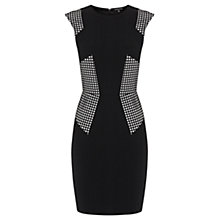 Buy Warehouse Crepe Lazer Cut Dress, Black Online at johnlewis.com