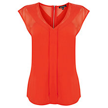 Buy Warehouse Airtex Mix Top, Red Online at johnlewis.com