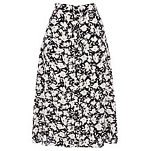 Buy Warehouse Stencil Floral Midi Skirt, Black Online at johnlewis.com
