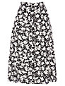 Warehouse Stencil Floral Midi Skirt, Black