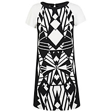 Buy Miss Selfridge Geometric Print T-Shirt Dress, Black Online at johnlewis.com
