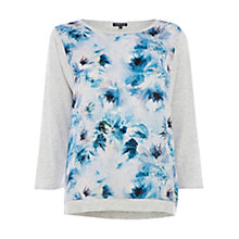 Buy Warehouse Floral Woven Front Jumper, Grey Online at johnlewis.com