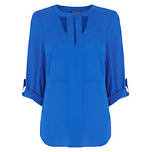 Buy Warehouse Cut Out Neck Blouse, Blue Online at johnlewis.com