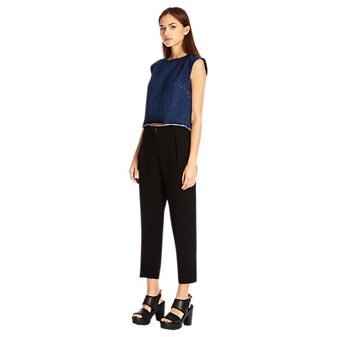 Buy Warehouse Cropped Curved Leg Trousers, Black Online at johnlewis.com