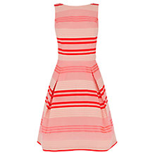Buy Warehouse Ribbon Detail Flared Dress, Pink Online at johnlewis.com