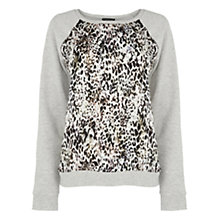 Buy Warehouse Animal Print Sweat, Grey Online at johnlewis.com