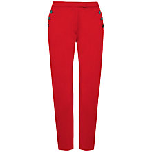 Buy Jaeger Cotton Button Pocket Trousers, Red Online at johnlewis.com