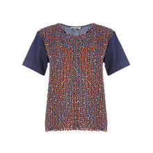 Buy Jigsaw Tribal Linton Tweed T-Shirt, Blue Online at johnlewis.com