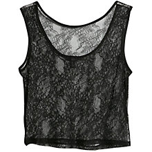 Buy Mango Floral Lace Top, Black Online at johnlewis.com