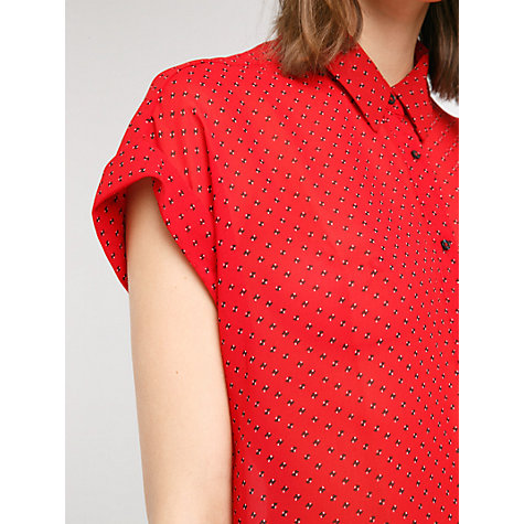Buy Mango Rolled Sleeve Mao Collar Blouse, Bright Red Online at johnlewis.com