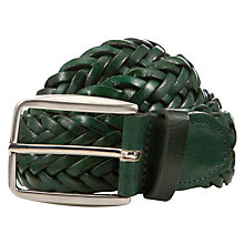 Buy John Lewis Made in Italy Plaited Leather Belt, Green Online at johnlewis.com