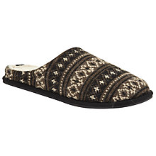 Buy John Lewis Fair Isle Knit Mule Slippers, Brown/Black Online at johnlewis.com