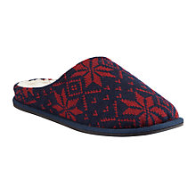 Buy John Lewis Snowflake Mule Slippers, Navy/Burgundy Online at johnlewis.com