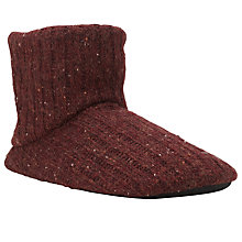 Buy John Lewis Cable Knit Boot Slippers, Burgundy Online at johnlewis.com