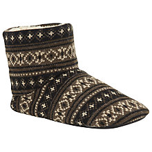 Buy John Lewis Fair Isle Knit Boot Slippers, Brown/Black Online at johnlewis.com