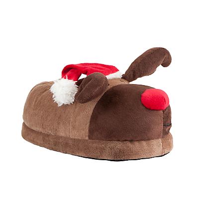 John Lewis Novelty Reindeer Slippers, Brown