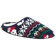 Buy John Lewis Snowman Mule Slippers, Navy Online at johnlewis.com