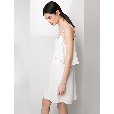 Buy Mango Textured Ruffle Dress, Natural White Online at johnlewis.com