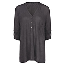 Buy Mango Button Detail Flowy T-Shirt, Dark Grey Online at johnlewis.com