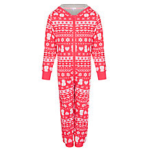 Buy John Lewis Girl Fair Isle Hooded Onesie, Red/White Online at johnlewis.com