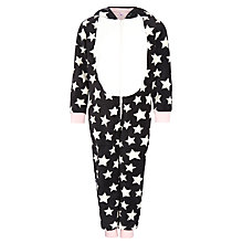 Buy John Lewis Girl Penguin Fleece Onesie, Black/White Online at johnlewis.com
