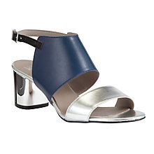 Buy Kin by John Lewis Five Block Heel Leather Sandals, Navy/Silver Online at johnlewis.com