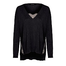 Buy Tara Jarmon V-Neck Lace Jumper, Graphite Online at johnlewis.com