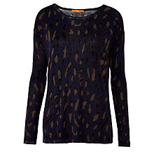 Buy BOSS Orange Ildiko Leopard Knit, Navy Online at johnlewis.com