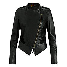 Buy BOSS Orange Janorah Lamb Leather Jacket, Black Online at johnlewis.com