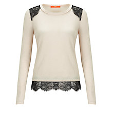 Buy BOSS Orange Iohanna Lace Top, Neutral Online at johnlewis.com