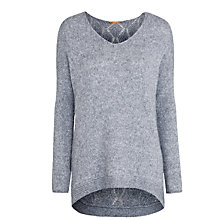Buy BOSS Orange Wiltoria Sparkle V-neck Jumper, Grey Online at johnlewis.com