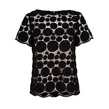 Buy Tara Jarmon Short Sleeve Spotted Net Top, Noir Online at johnlewis.com