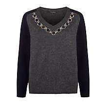 Buy Tara Jarmon V-Neck Embellished Jumper, Graphite Online at johnlewis.com