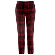 Buy Tara Jarmon Check Print Trousers, Burgundy Online at johnlewis.com