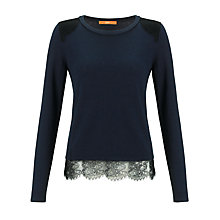 Buy BOSS Orange Iohanna Lace Detail Knit Top,  Navy Online at johnlewis.com