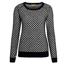 Buy BOSS Orange Waffle Knit Jumper, Black Online at johnlewis.com