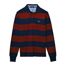 Buy Gant Barstripe Rugby Shirt, Berry / Navy Online at johnlewis.com