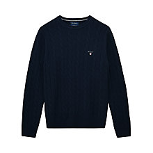 Buy Gant Lambswool Cable Knit Jumper, Navy Online at johnlewis.com