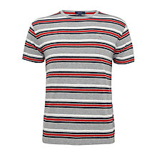 Buy Gant Ski Stripe Cotton Crew Neck T-Shirt, Multi Grey Online at johnlewis.com