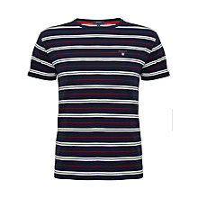 Buy Gant Narrow Stripe Cotton Crew Neck T-Shirt, Multi Navy Online at johnlewis.com