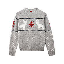 Buy Gant Lambswool Reindeer Jumper, Grey Melange Online at johnlewis.com