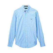 Buy Gant Breton Poplin Stripe Shirt, Blue/White Online at johnlewis.com