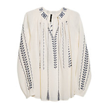 Buy Mango Embroidered Ethnic Blouse, Natural White Online at johnlewis.com