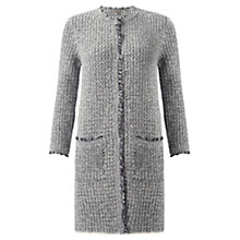 Buy Jigsaw Tweed Knit Fringed Coatigan, Blue Online at johnlewis.com