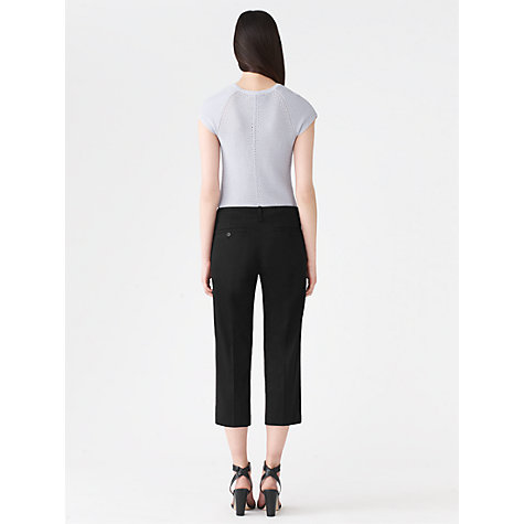 Buy Jigsaw Cotton Stretch Cropped Trousers, Black Online at johnlewis.com