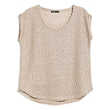 Buy Mango Open-Knit T-Shirt, Light Beige Online at johnlewis.com